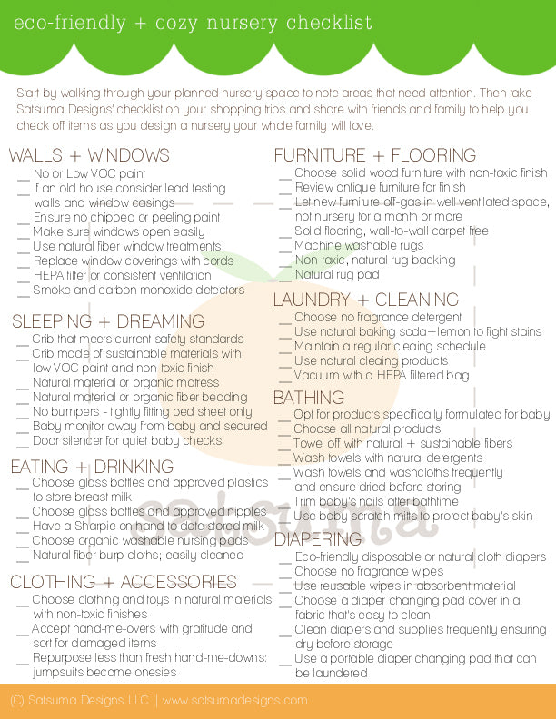satsuma designs eco-friendly nursery checklist