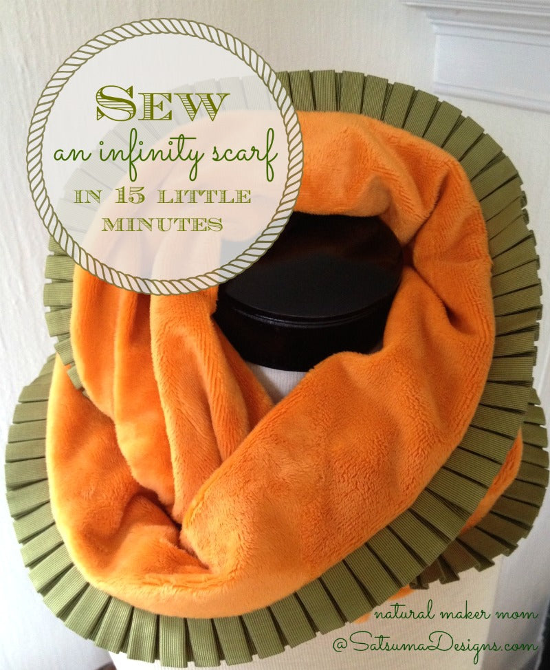 sew an infinity scarf in 15 minutes from natural maker mom at satsuma designs