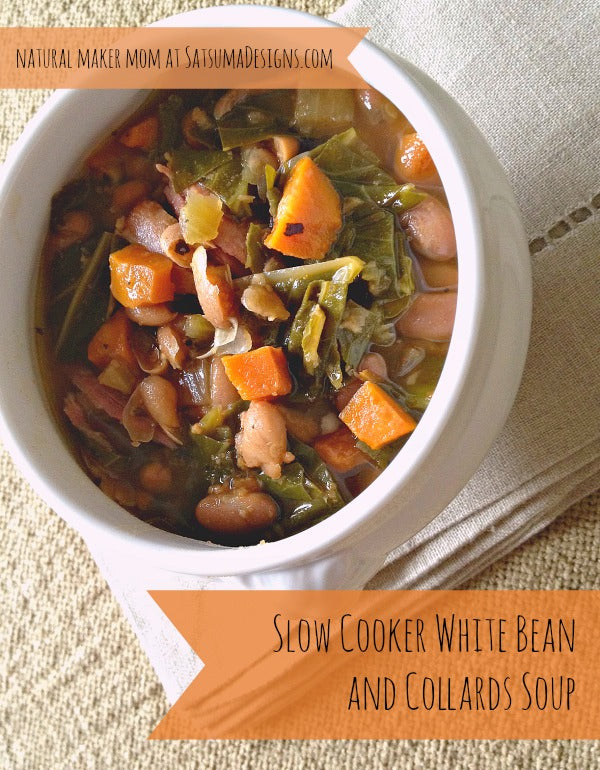 slow cooker white bean and collard soup from natural maker mom