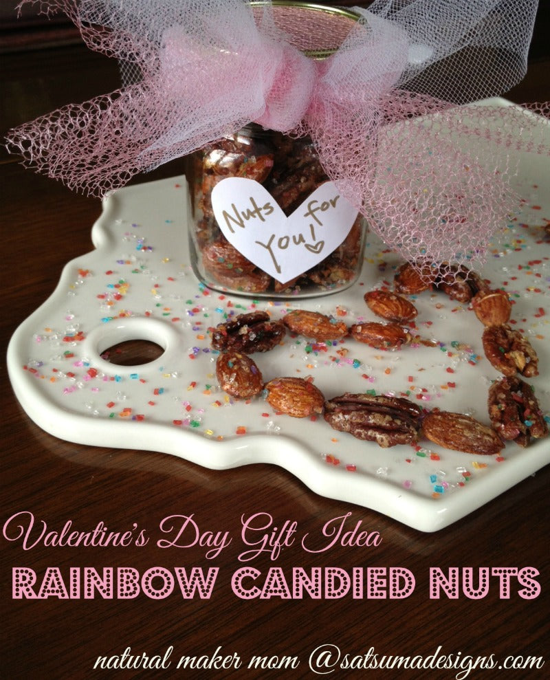 valentines day gift idea rainbow candied nuts