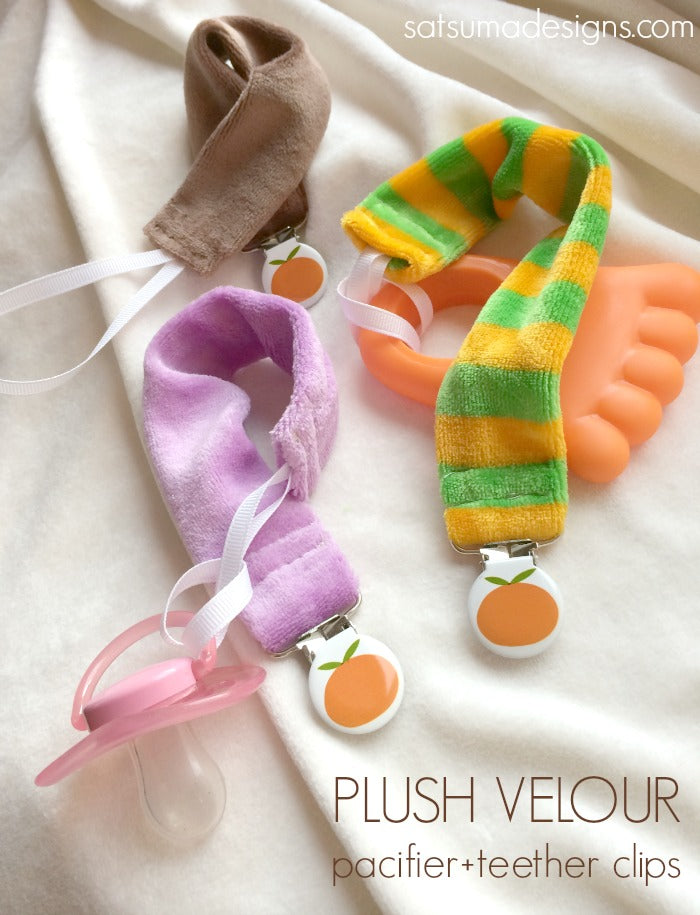 velour pacifier and teether clips