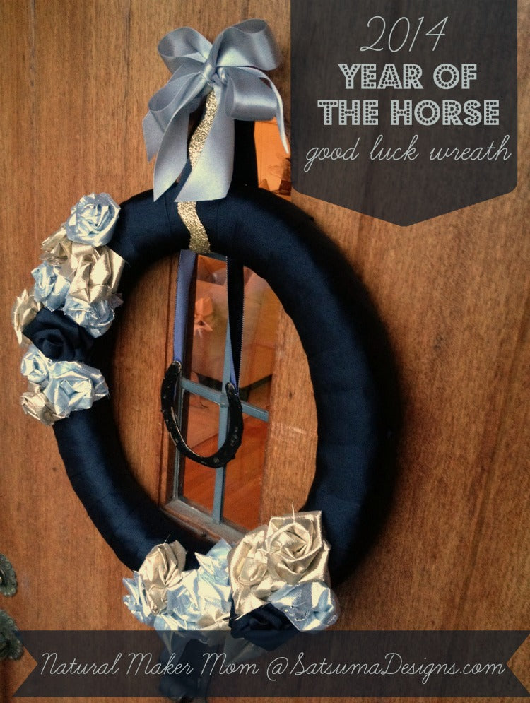year of the horse good luck wreath