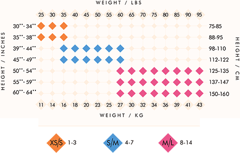 Bodywrappers tights size chart