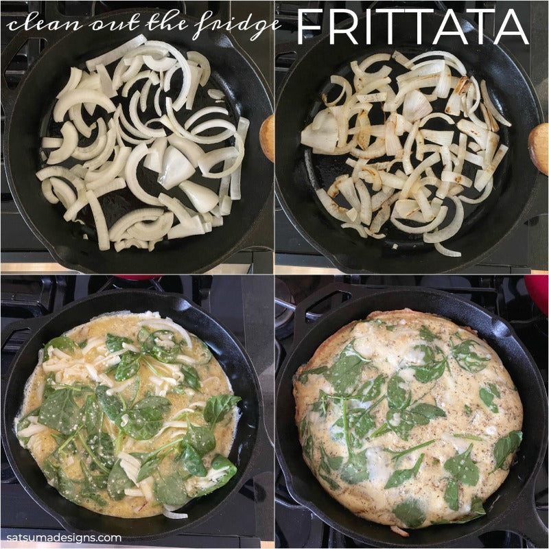 Easy clean out the fridge frittata recipe that uses up all those half consumed vegetables, cheese and proteins. This easy egg dish is perfect for any meal to share! #eggs #glutenfree #frittata #spanishtortilla #breakfastrecipe #easyrecipes #lifehack #20minuterecipes
