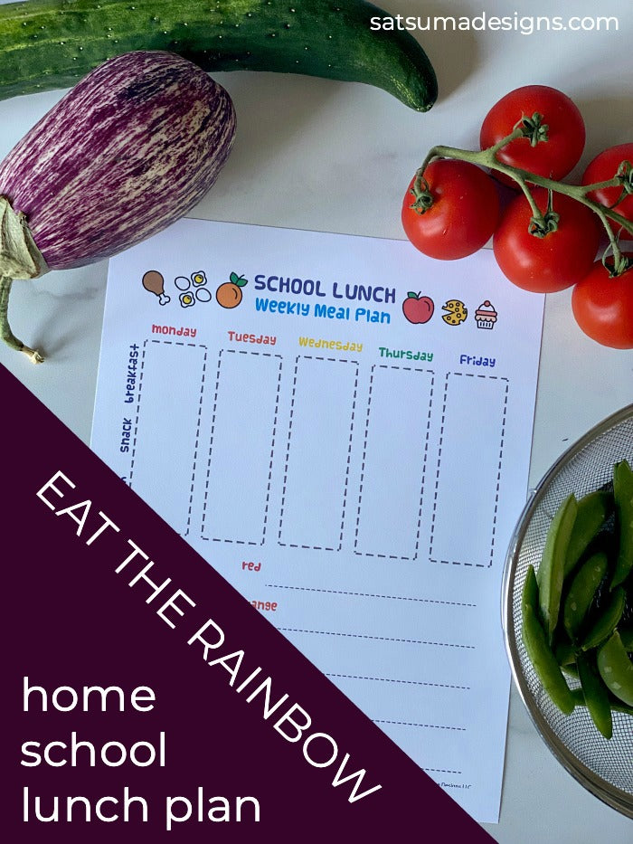 Distance learning school lunch plan template | Let the kids help plan home school lunches to share the load. Great independence tool for kids! #executivefunction #eattherainbow #nutrition #schooltools #homeschool #distancelearning #covid19 #2020homeschool