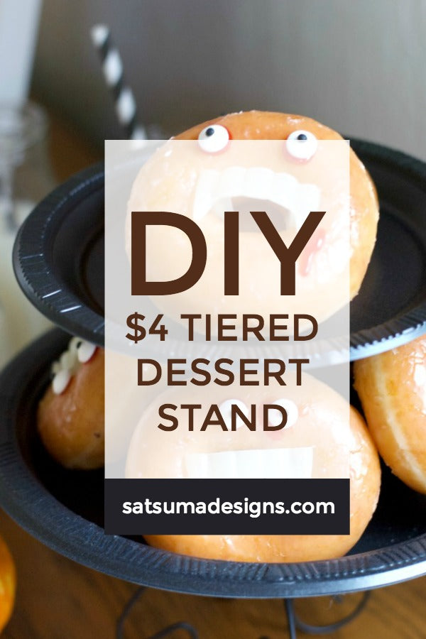 Click through to find out how to make my DIY $4 tiered dessert stand from dollar store finds | Party planning ideas | SatsumaDesigns.com #halloween #party #dollarstore