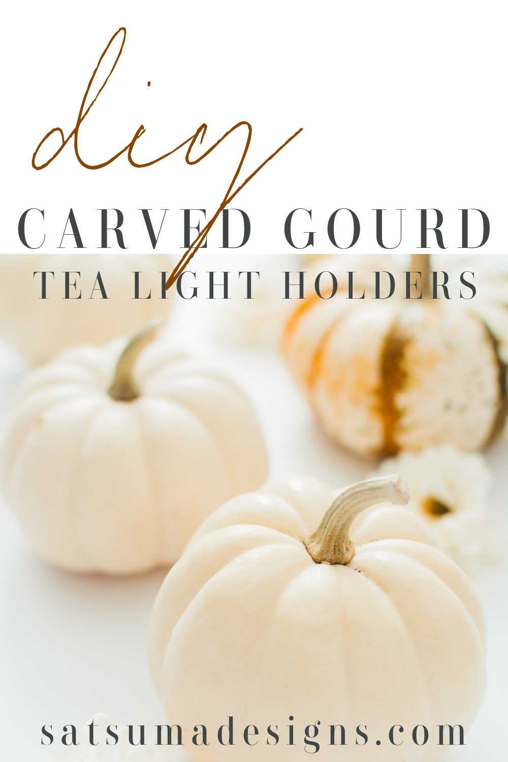 DIY carved gourd tea light holders. Try these super easy candle holders for autumn decorating. Super fun Halloween season craft for kids too! #gourds #pumpkins #tealightcrafts