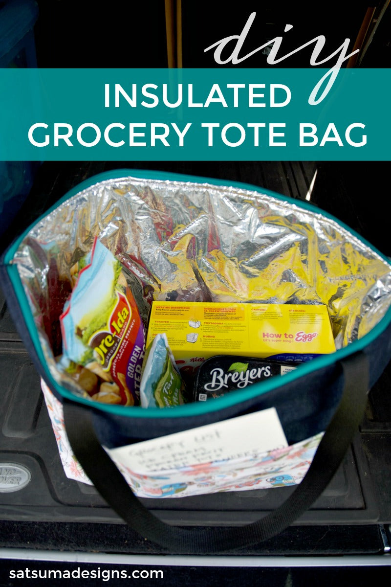 DIY insulated grocery tote bag is an easy sewing project to preserve frozen and cold groceries on shopping trips. Easy to follow video tutorial shows you how. #insulatedbag #zipperbag #grocerybag #grocerytote #groceryshoppingbag #shoppingbag #totebag #diy #easysewing