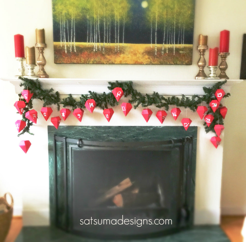 diy paper diamond advent garland