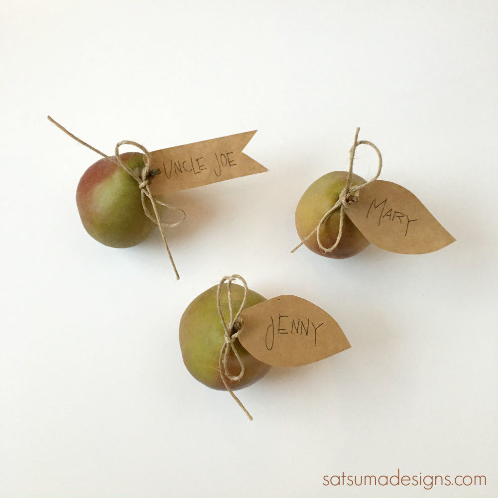diy mini pear place cards