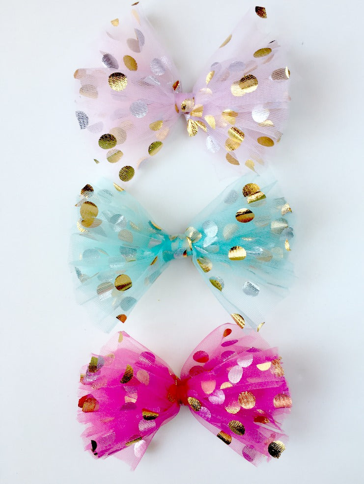 diy polka dot tulle hair bow