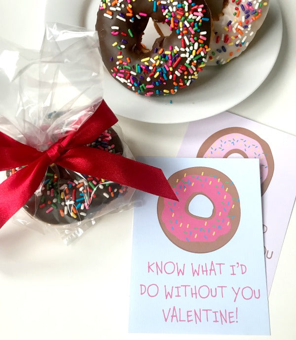 Donut know what I'd do without you Valentine | Valentine's Day card | SatsumaDesigns.com #printables #valentinesday