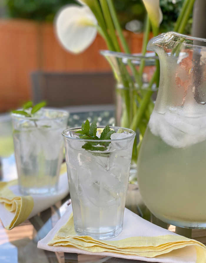 Photo of lemonade in a glass with mint garnish