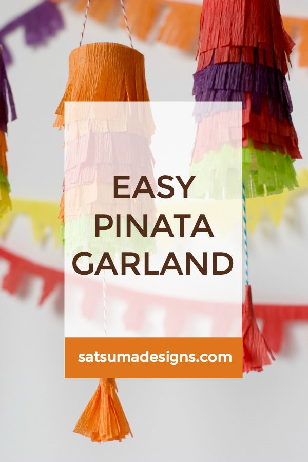 Click through to try this easy pinata garland using toilet paper rolls and crepe paper | Easy Cinco De Mayo party decorations | SatsumaDesigns.com #party #CincoDeMayo