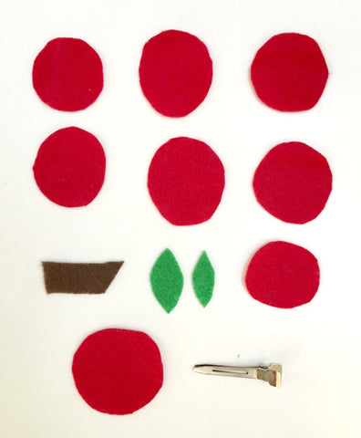 felt apple hair clip materials