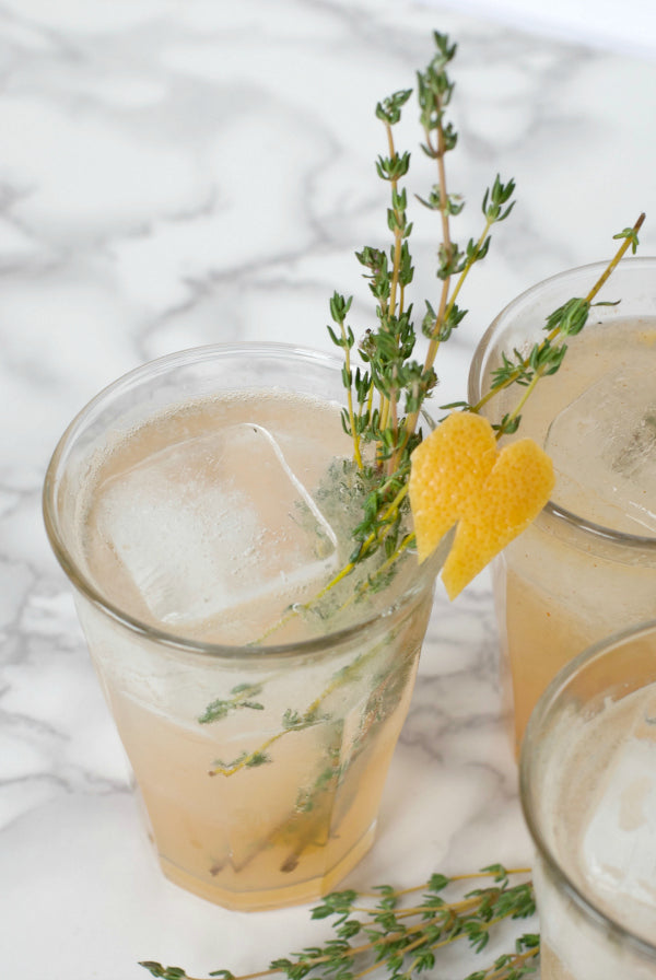 Click through to try my easy and delicious Grapefruit and Thyme Shrub Recipe | Vinegar and fruit shrub recipes | Healthy drink recipes | SatsumaDesigns.com #shrub #beverages #recipes