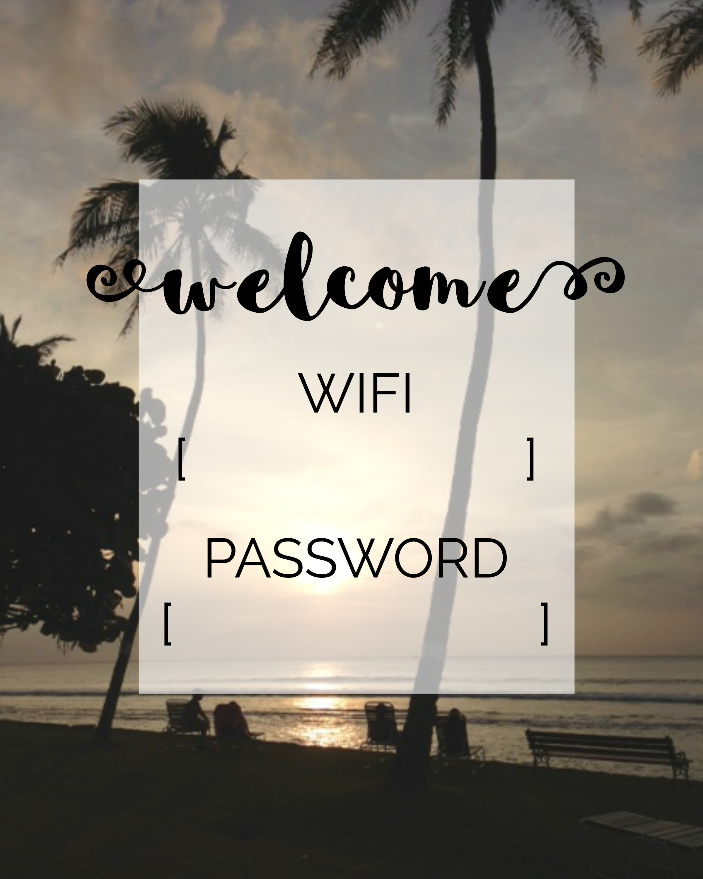 guest room wifi card - free printable
