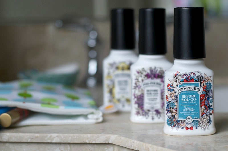 Poo~pourri for a winning holiday travel toiletry bag checklist | SatsumaDesigns.com