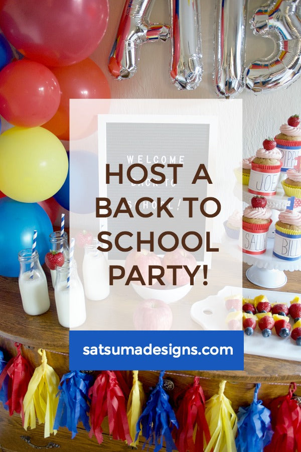 Click through to see how I hosted an easy and festive Back to School party for little scholars | Easy part planning | party planning tiips | SatsumaDesigns.com #partyplanning #backtoschool
