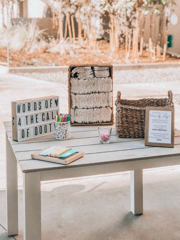 Check out my tips on how to host a fun virtual baby or wedding shower. If you can't gather, find ways to connect! #babyshower #weddingshower #hostess #entertain #springshowers #satsumadesigns #virtualparties