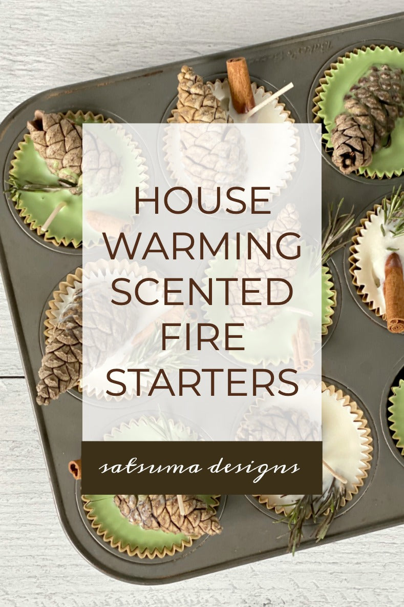 House warming scented fire starters to welcome new neighbors home. These easy to make soy wax fire starters are fragrant and a perfect way to enjoy autumn and winter! #housewarming #firestarters #soycandle #soywax #candles #candle #scentedcandle #scentedcandles #etiquette #community #neighbors