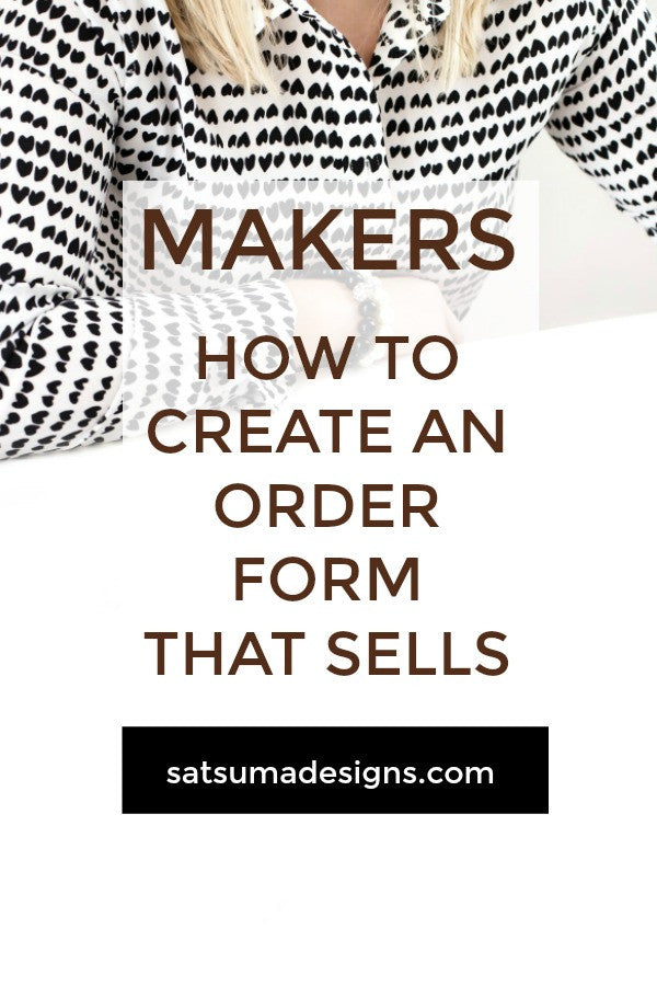 how to create an order form that sells