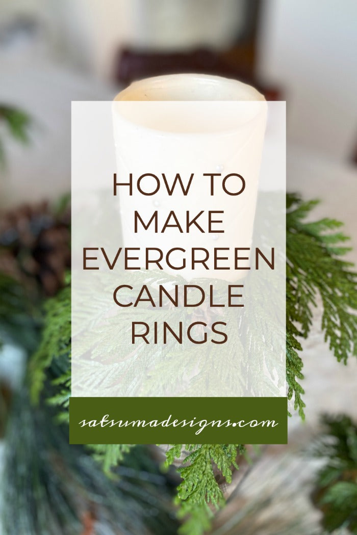 How to easily make evergreen candle rings for holiday decor. Watch my quick video and learn to make these great smelling evergreen candle rings to enjoy all holiday season. #holiday #holidaydecor #candles #candlerings #upcycle #naturecrafts #naturalelements #crafting