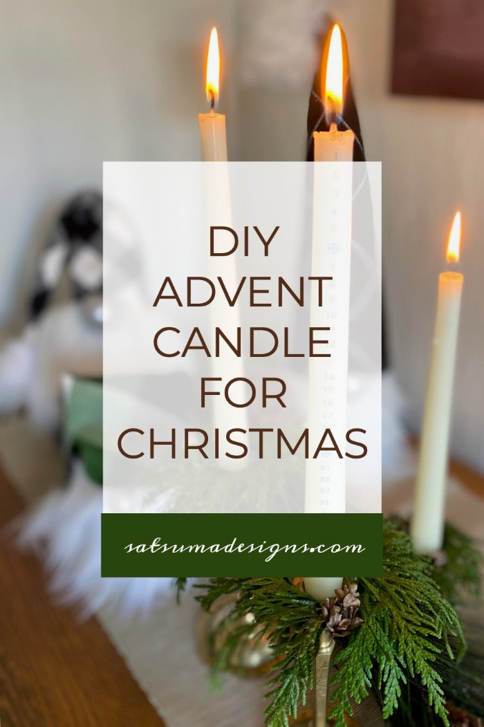 How to make an easy and festive Advent candle for Christmas. Follow these easy instructions to print my number list onto tissue paper and use a hair dryer to melt the candle wax to affix. #Christmas #Advent #Christmascraft #Adventcraft #twasthenightbeforeChristmas #easycraft #dollarstore #dollarstorecraft