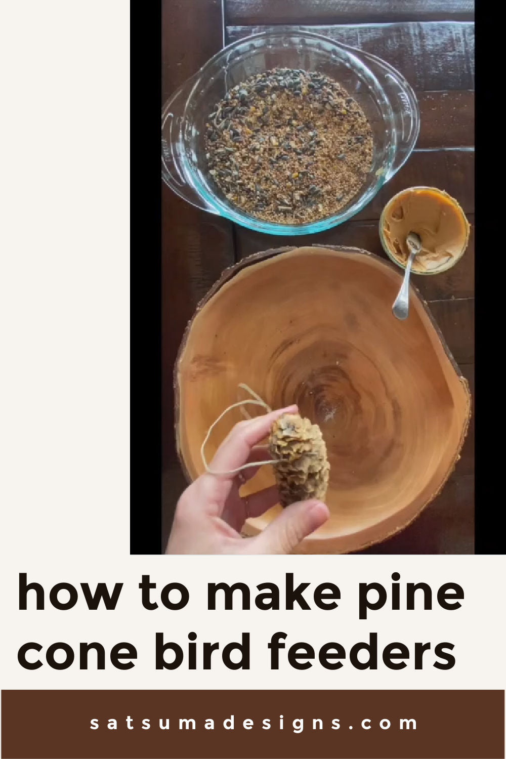 How to make easy pine cone bird feeders. This quick and fun craft will help feed birds all winter long! #craftsforkids #birdfeeder #naturalmom #upcycle