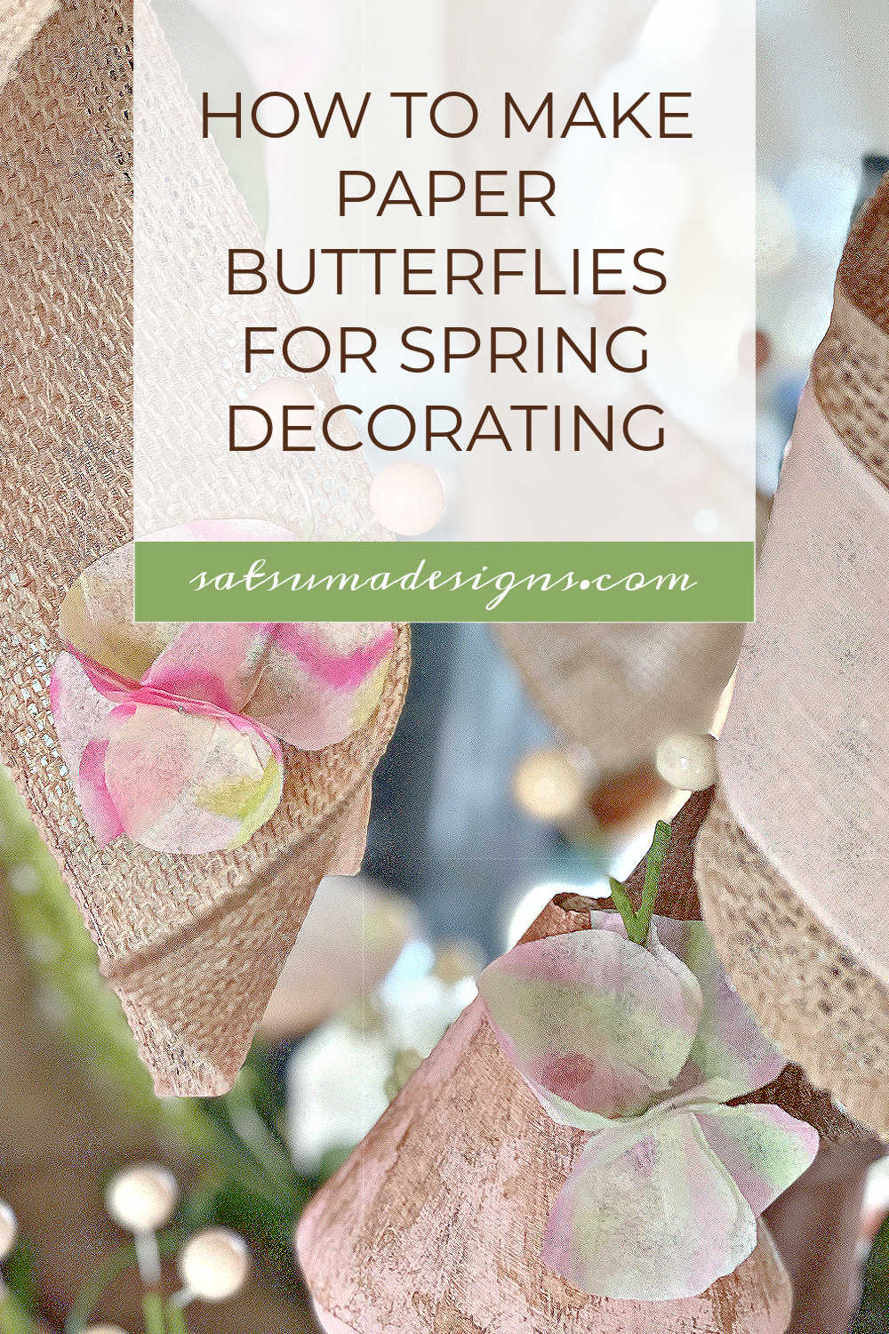 Discover how to easily make paper butterflies for spring decorating. This easy craft is great for kids to enjoy adding to gifts, sharing May Day baskets and decorating your home. Enjoy! #butterflies #papercrafts #easycrafts #craftsforkids