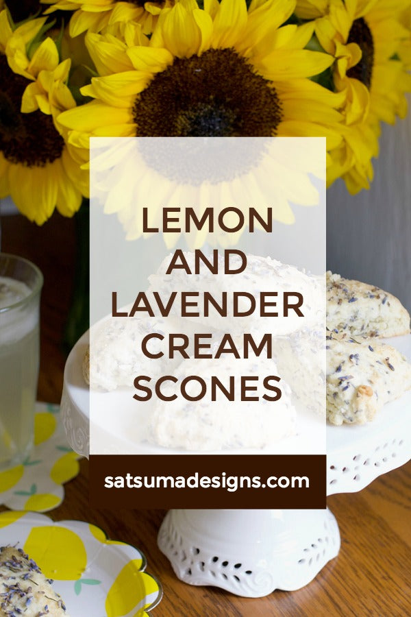 Click through to find my easy recipe for lemon and lavender cream scones | English tea party recipes | Tea Party ideas | Scone recipe | SatsumaDesigns.com #dessert #recipes