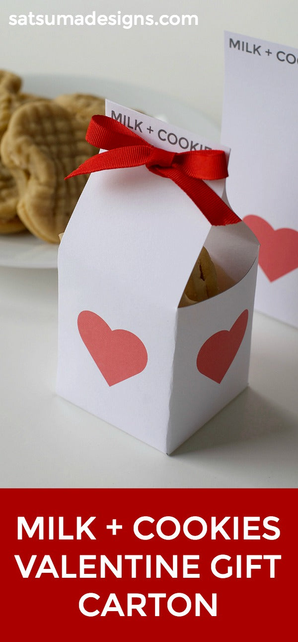 Milk and cookies valentine gift carton | Sweet valentine's day gift idea for kids, co-workers, neighbors and friends | Printable | box template | Easy valentine gift ideas | SatsumaDesigns.com #valentine