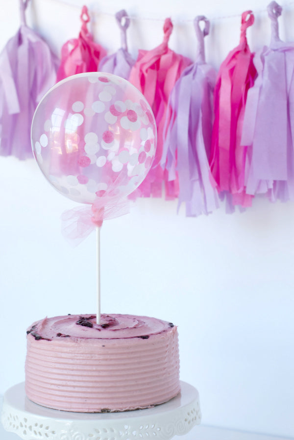 Click through to make my easy mini confetti balloon cake toppers | Cake topper ideas | Easy party DIY | SatsumaDesigns.com #caketopper #partyplanning #confettiballoons