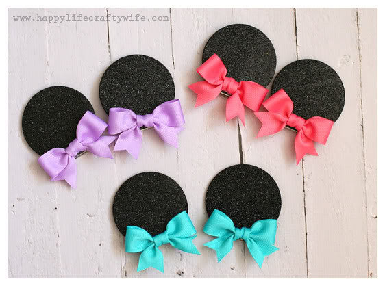 minnie hair bow clips