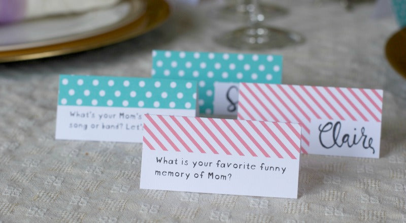 Click through to print my Mother's Day Table Talk Place Cards to get your Mother's Day party started. | Easy party printables | Free Printables | SatsumaDesigns.com #Mothersday #partyplanning