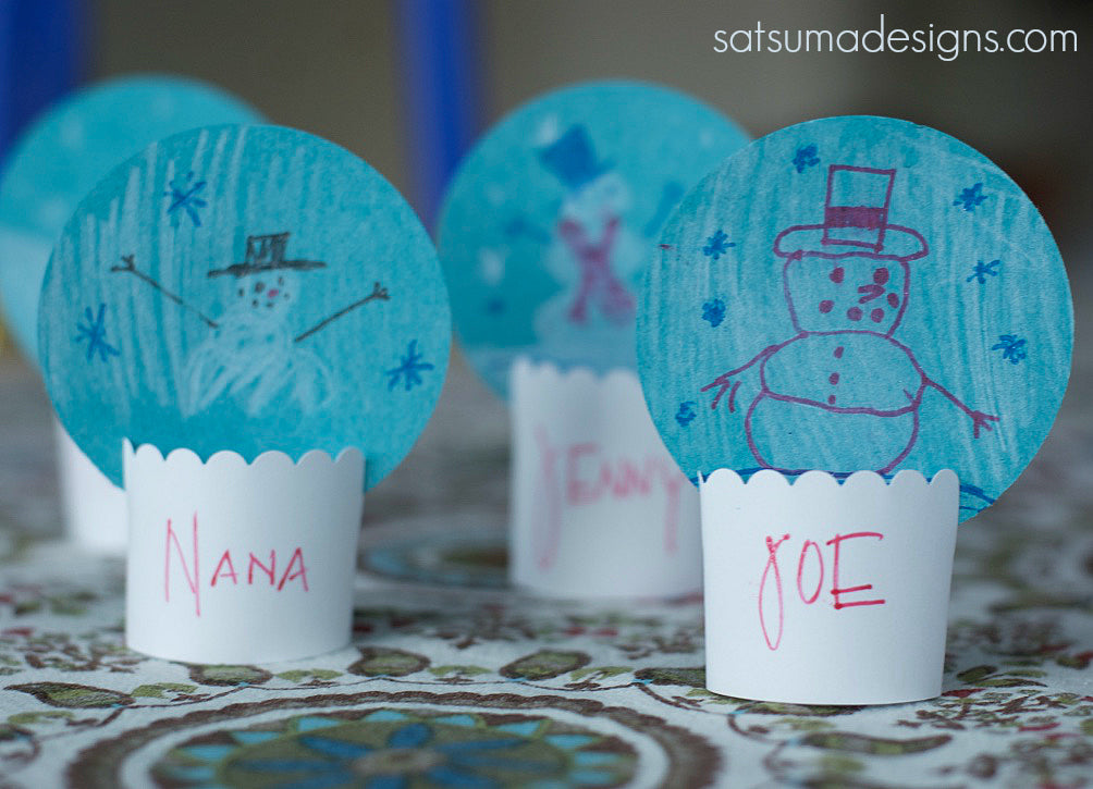 paper snow globe place cards
