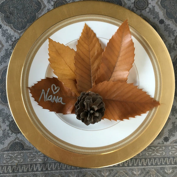 pine cone and leaves place card