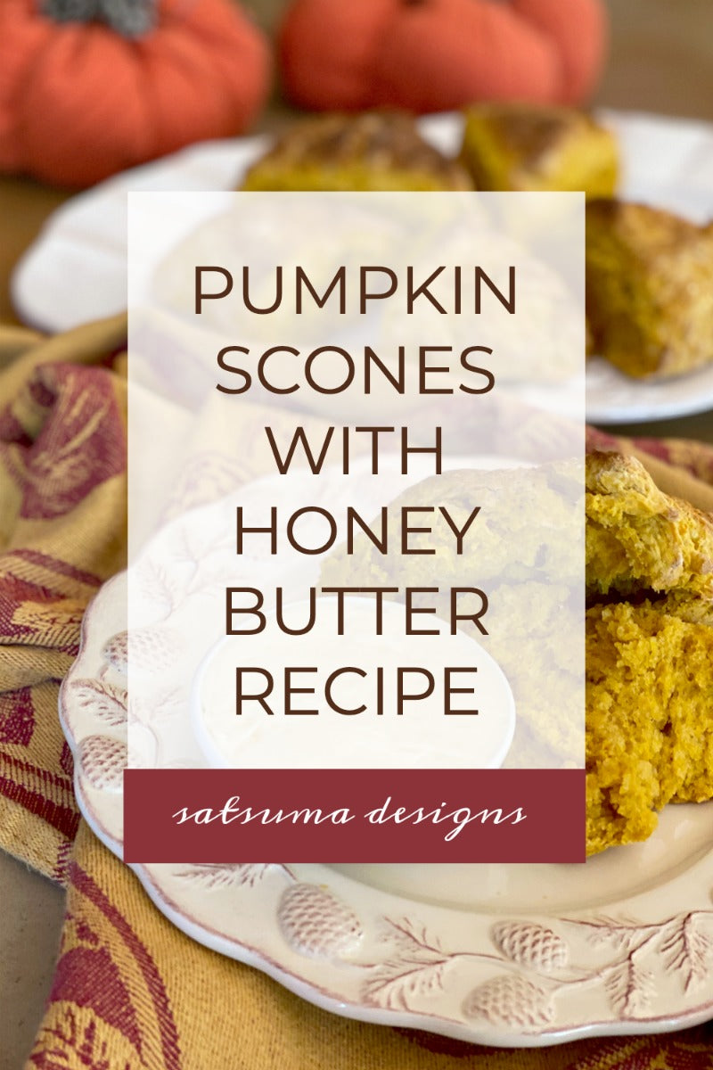 Savory pumpkin scones with honey butter recipe is a great way to welcome autumn. These easy to make scones are lightly spiced and delicious. #fall #autumn #scones #scone #fallyall #itsfallyall #pumpkin #pumpkins #fallharvest #seasonalrecipes #pumpkinspice