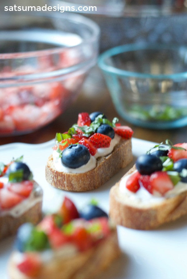 red white and blueberry bruschetta