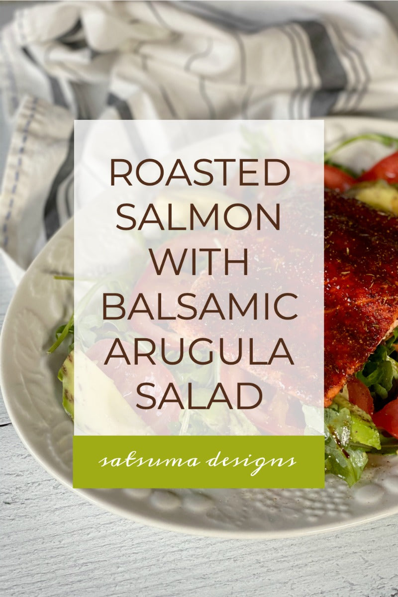 Easy roasted salmon with balsamic arugula salad and #tomdouglas salmon rub makes a superfood dinner in just 20 minutes. Try my recipe for a great all year weeknight meal. #weeknighdinner #whatsfordinner #salmon #arugulasalad #platterdinner #salmonfilet #dinnerrecipes