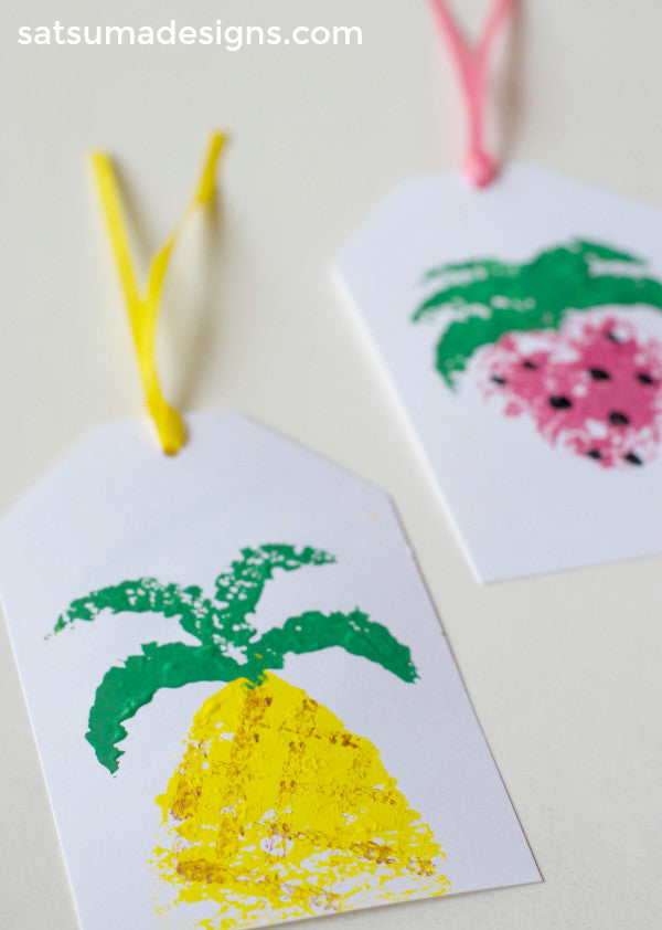 diy summer fruit sponge paint gift tags