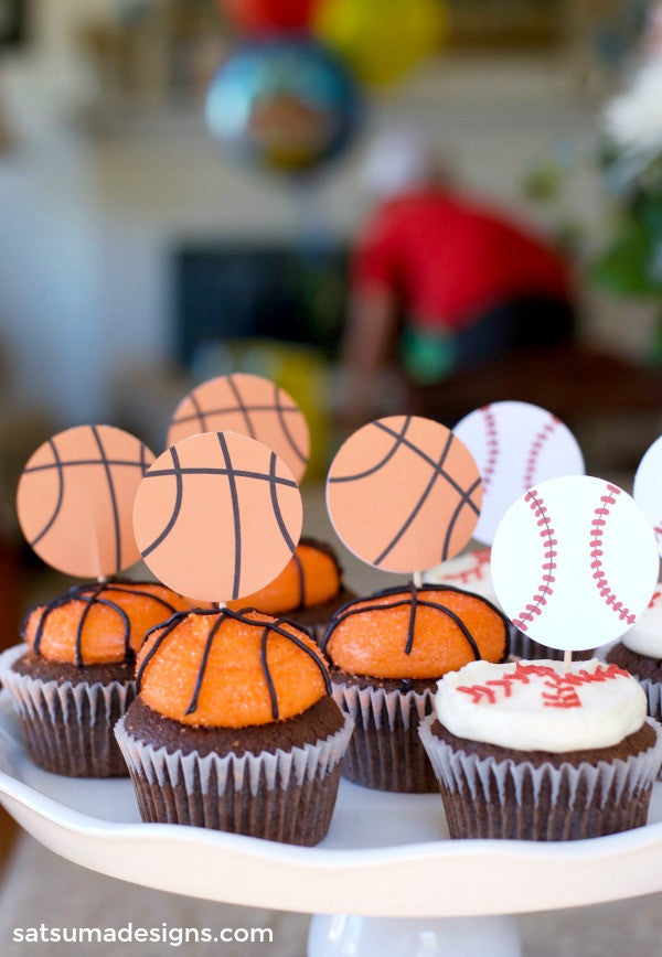 sports birthday cupcake toppers