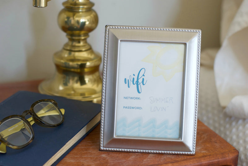 Click through to print my summer guest room wifi printable to keep guests happy | free printable | wifi printable | SatsumaDesigns.com #wifi #printable