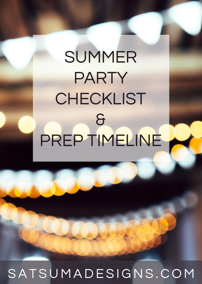 Photo of strung twinkle lights with copy overlay for summer party checklist