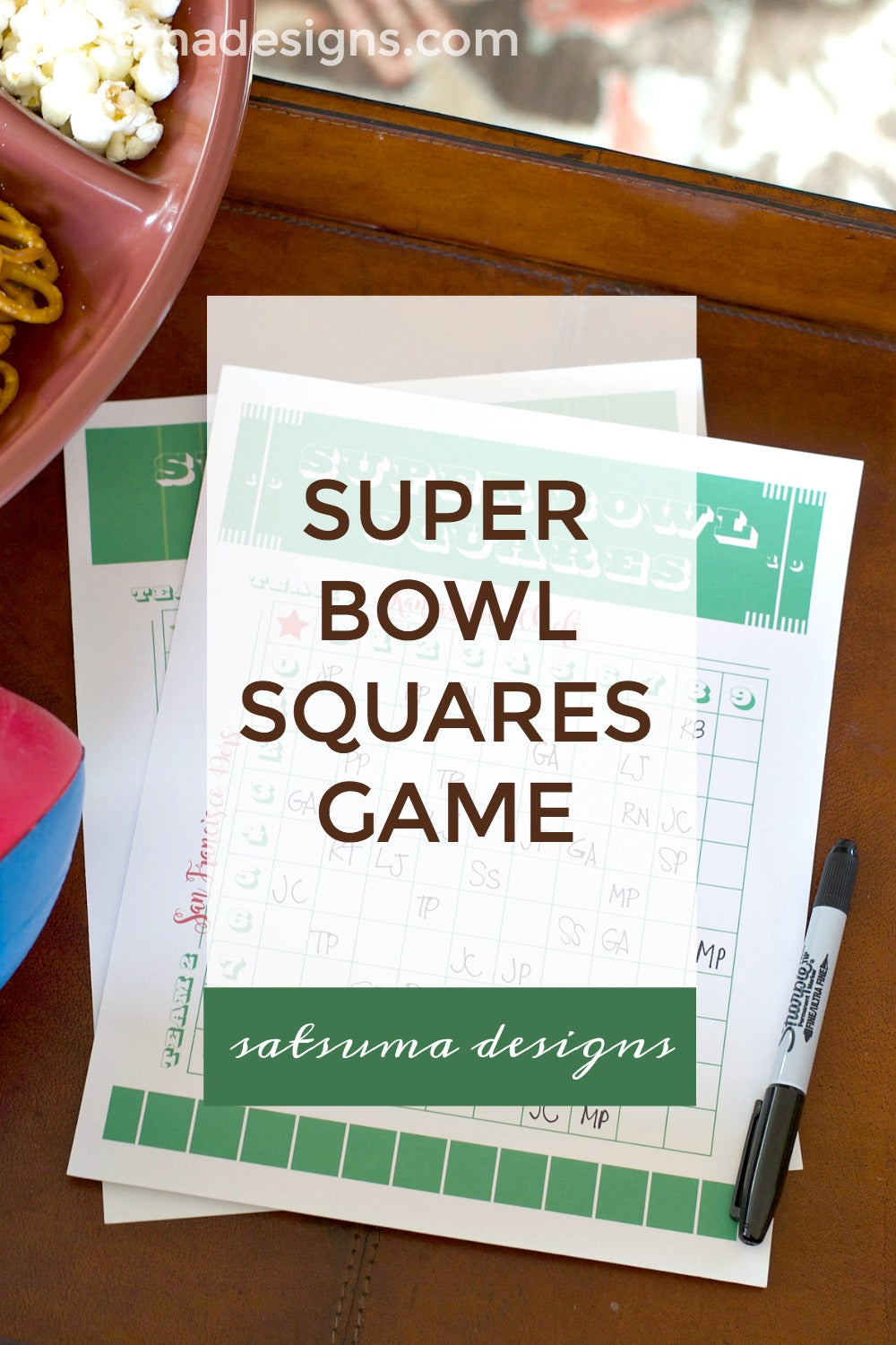 Super bowl squares game printable for your super bowl party. This post has printables for Super Bowl 54 and generic version for any super bowl in the future. Enjoy! #football #footballsquares #printable #superbowl #superbowl54 #gameday #satsumadesigns