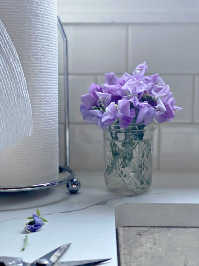 Photo of sweet pea flower bouquet on kitchen counter top