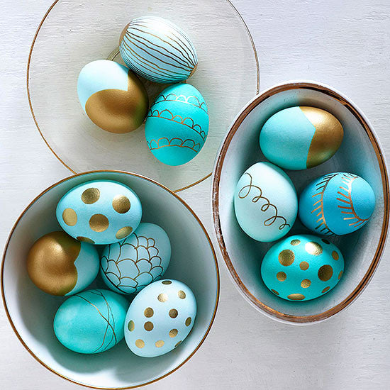 tuquoise and gold easter eggs