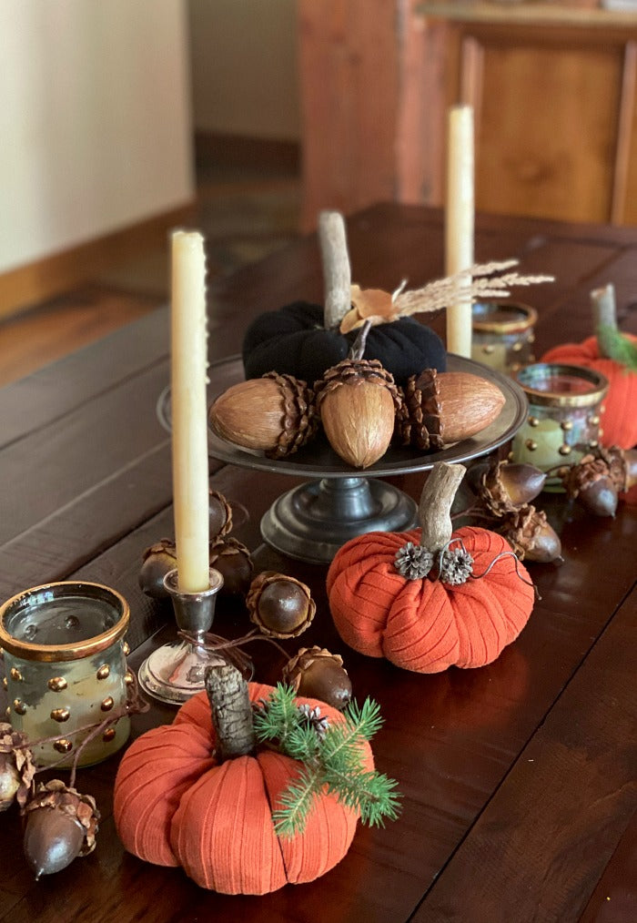 Try this easy DIY upcycled fabric pumpkins with found objects to decorate this #autumn. My easy to follow tutorial walks you through each step with a video and written instructions. #happyfallyall #happyfall #falldecor #decorating #crafts #crafting #upcycle #upcycledcraft #homeschool #artclass #kidscraft #pumpkins #gourds