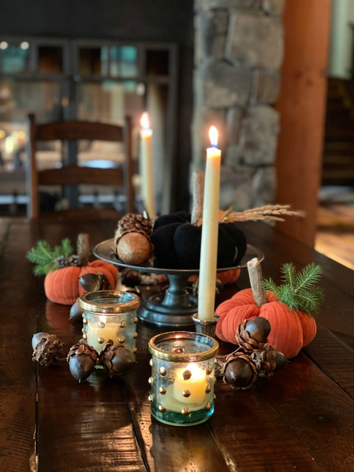 Festive upcycled pumpkins with found objects make delightful #Halloween decor. This project doesn't cost a thing and is so fun for kids to enjoy after a nature walk to collect materials. #diy #craft #crafty #homeschool #artsandcrafts #artteacher #classroom #pumpkins #gourds #decor #centerpiece #holidays #autumn #fall #falldecor