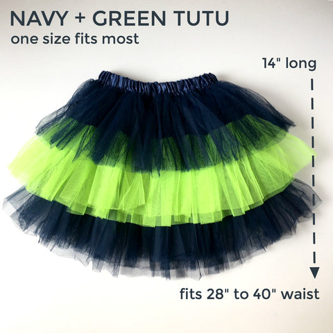Navy Blue and Green Adult Tutu | SatsumaDesigns.com #football #tutu